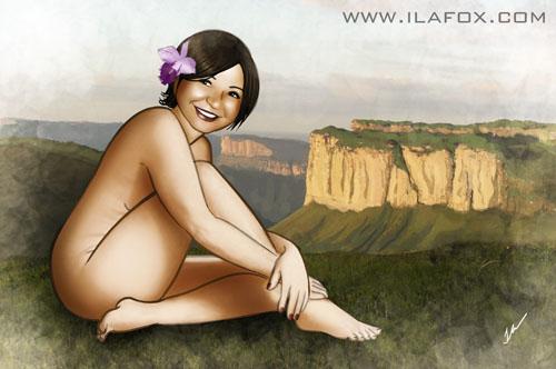 Retrato nu artístico cabeceira de cama, ilustração by ila fox