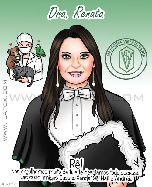 Retrato de formatura, retrato formanda, medicina veterinária, retratos personalizados, by ila fox