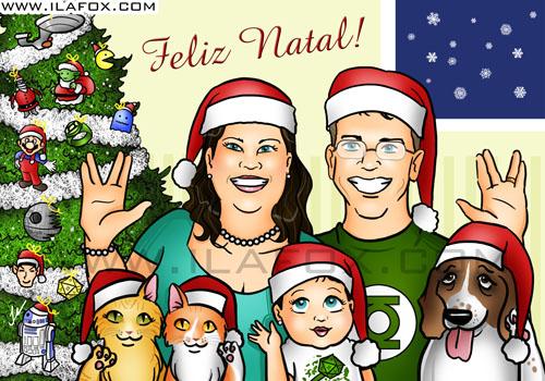 Retrato família Nerd, Natal, arvore de natal geek, ilustração by ila fox
