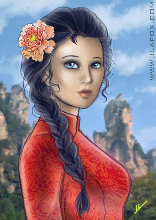 Retrato shunrei, shunrei, cavaleiros zodíaco, shiryu, montanhas de rosan, ilustração by ila fox