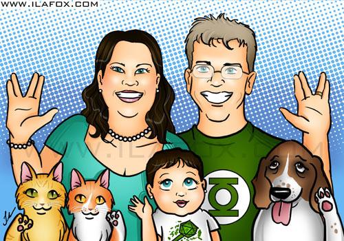 Ilustração retrato de família nerd feliz