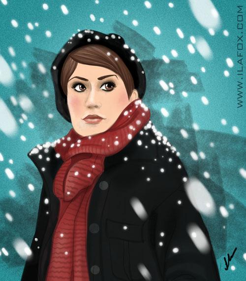 O inverno está chegando, roupa de frio, neve caindo, mulher de cachecol ilustração by ila fox