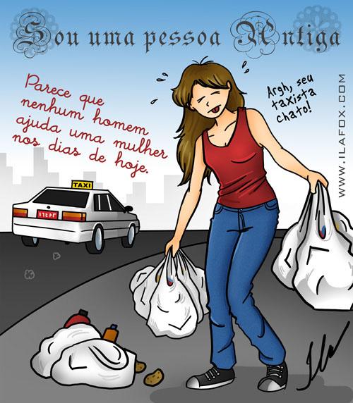 Parece que nenhum homem ajuda uma mulher nos dias de hoje, segurando sacolas do mercado by ila fox - ilustração