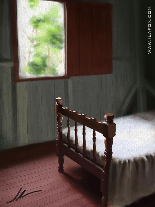 quarto e cama no sítio, tranquilidade, silencio, sossego. Ilustração by ila fox