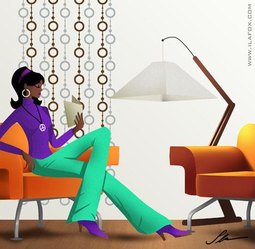 Design de interiores, decoração retrô anos 50, 60 e 70 - ilustração by ila fox