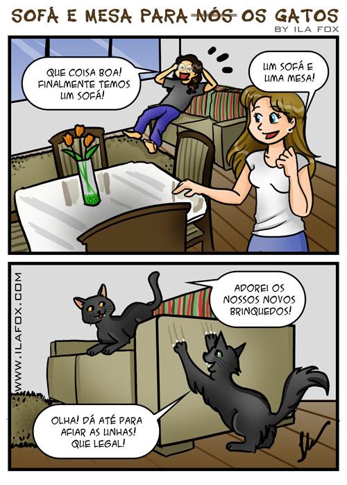 Sofá e Mesa novos para nós, ops, os gatos! gatos que afiam a unha no sofá, como fazer gato parar afiar unha no sofá, meus gatos afiam as garras no sofá, quadrinhos by ila fox