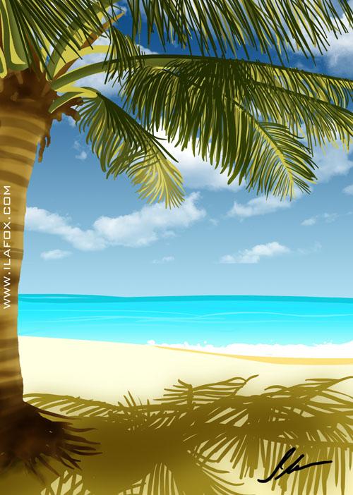 sombra e água fresca, praia com coqueiro, férias, ilustração by ila fox