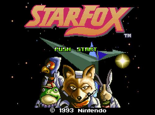 Tela de abertura do jogo Star Fox para Super Nintendo