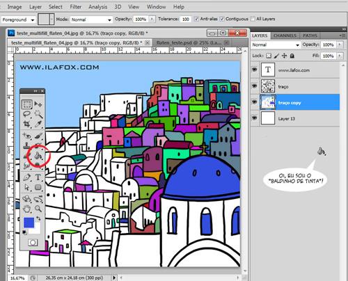 multifill, flatten, Bpelt, preenchimento automático de cores, plugin de preenchimento de cores, plugin, photoshop, by ila fox