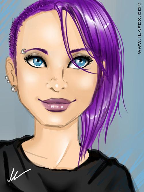 Teste programa Paint Tool SAI, mulher de cabelo roxo, ilustração by ila fox