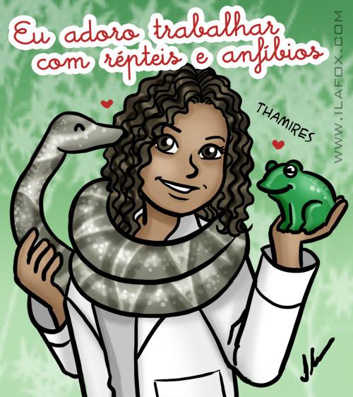 Eu adoro trabalhar com repteis e anfíbios, thamires benicio, ilustração by ila fox