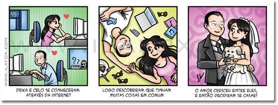 Convite em tirinhas, em quadrinhos, personalizado, noivas, história dos noivos, Minas Gerais, Cuiabá, Uberlândia, by ila fox