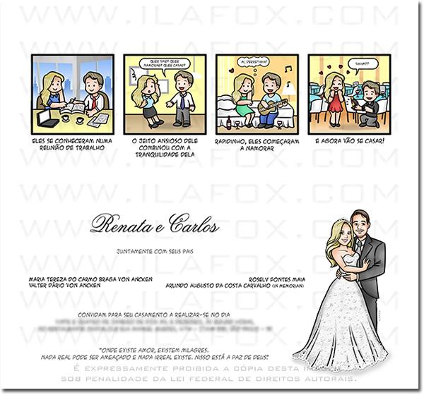convite original, convite divertido, convite diferente, convite casamento, convite quadrinhos, convite em tirinhas, história casal, by ila fox