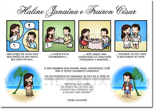 Convite personalizado, convite em tirinhas, convite história em quadrinhos, história dos noivos, convite havaiano, by ila fox
