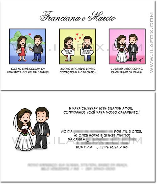 Convite em tirinhas, casamento, noivos, história personaliza, namoro a distancia, convite com história, by ila fox