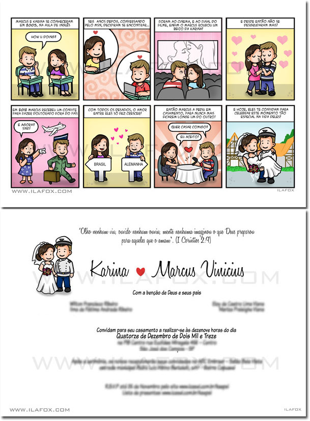 convite personalizado, convite em quadrinhos, convite original, by ila fox