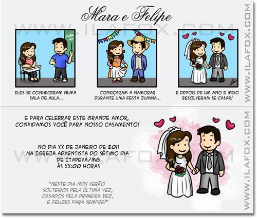tirinha em quadrinhos, convite em quadrinhos, convite casamento original, noivinhos Mara e Felipe, by ila fox