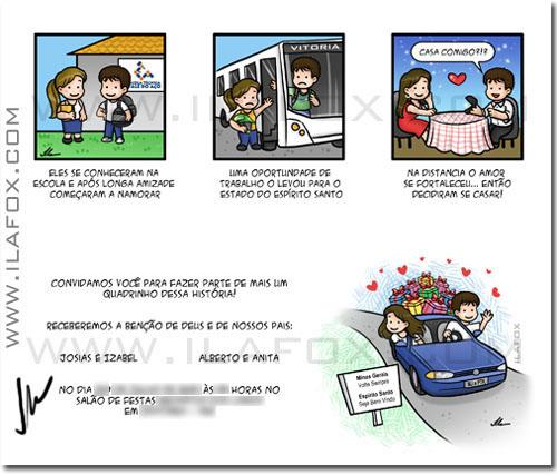Convite em tirinhas, convite personalizado em quadrinhos, convite original, by ila fox