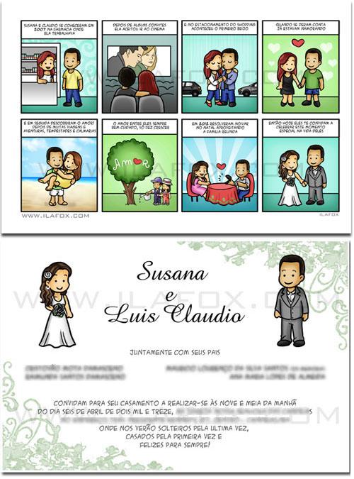 convite personalizado, convite em tirinhas, convite original para casamento, by ila fox