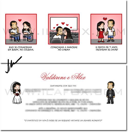 Convite em tirinhas personalizado, convite personalizado, historia casal, by ila fox