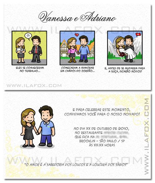 tirinha em quadrinhos, convite em quadrinhos, convite casamento original, noivinhos vanessa e adriano, Campos do Jordão, Suiça, by ila fox