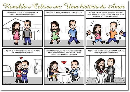 convite personalizado, convite em quadrinhos, convite história casal, convite história noivos, by ila fox