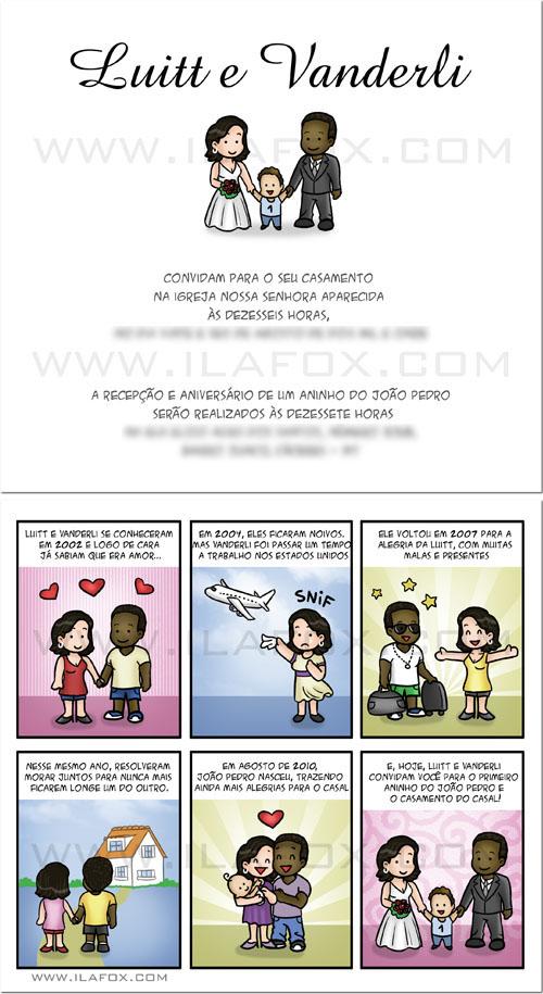 convite em tirinhas, história do casal, noivo negro, noiva branca, by ila fox