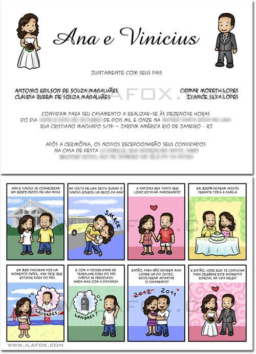 Convite em tirinhas, convite personalizado, história do casal, morando a distancia, by ila fox