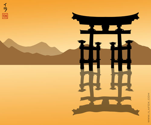 tori flutuante, Miyajima, Japão, ilustração by ila fox