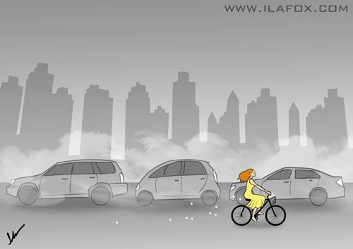 transito caótico e bicicleta livre ilustração para o BH Humor by ila fox