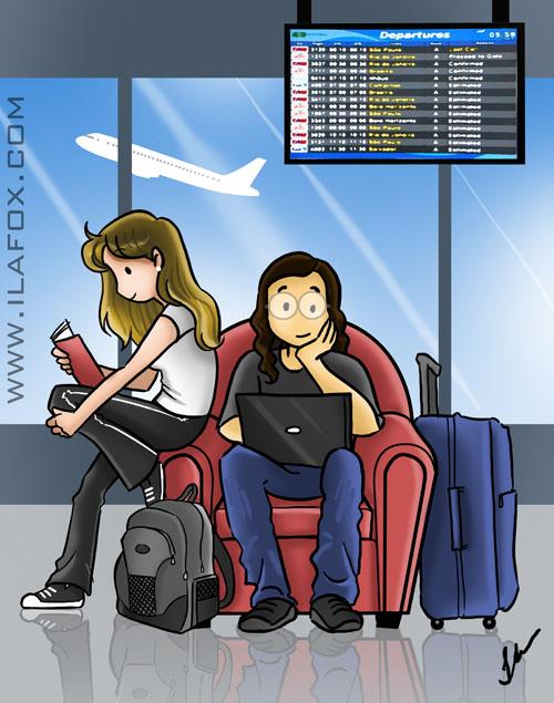 Ilustração, esperando vôo no aeroporto, passando tempo no aeroporto, Ila Fox e Ricbit