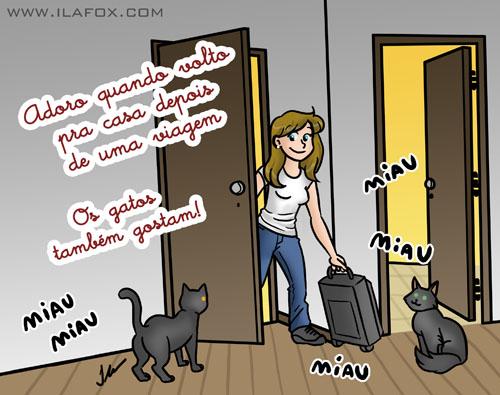 Adoro quando volto pra casa depois de uma viagem, ilustração by ila fox
