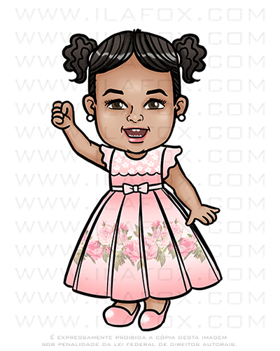 desenho infantil, desenho menina de vestido, desenho personalizado, desenho criança, by ila fox