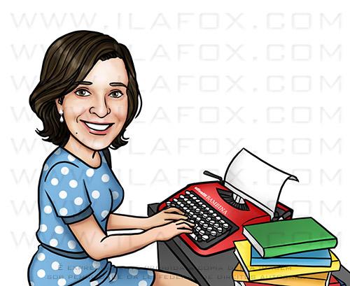retrato personalizado, retrato mulher na máquina de escrever, retrato escritora, desenho mulher, by ila fox