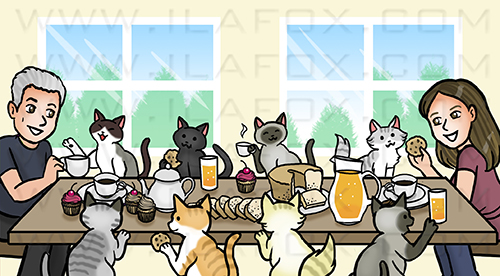 caricatura desenho, caricatura, caricatura família, caricatura gatos, família com gatos, by ila fox