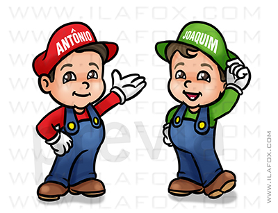 caricatura desenho, caricatura infantil, caricatura super mario, caricatura personalizada criança, by ila fox