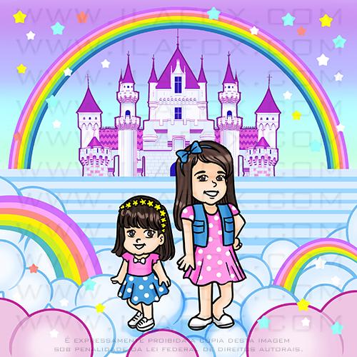 caricatura fofinha, caricatura infantil, castelo princesa, arco íris, caricatura duas irmãs, by ila fox