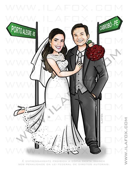caricatura proporcional, caricatura, caricatura casal, caricatura bonita, caricatura noivos, by ila fox