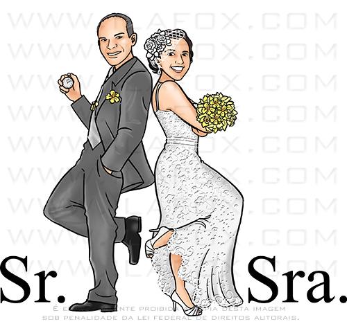 caricatura proporcional, caricatura bonita, caricatura noivos, sr e sra smith, caricatura noivos, caricatura para casamento