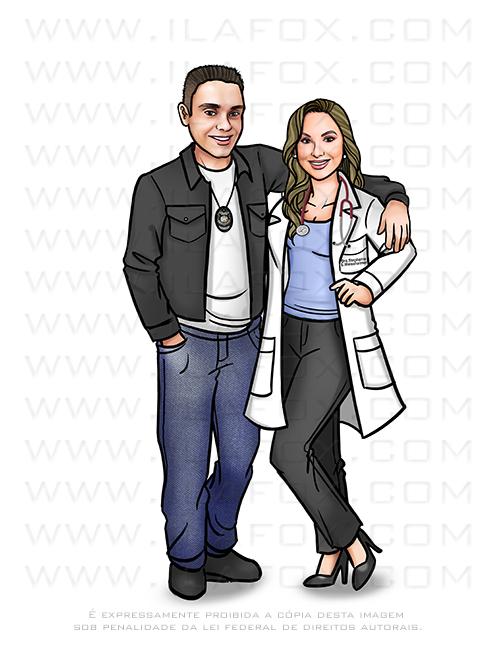 caricatura proporcional, caricatura casal, caricatura profissão, caricatura delegado, caricatura médica