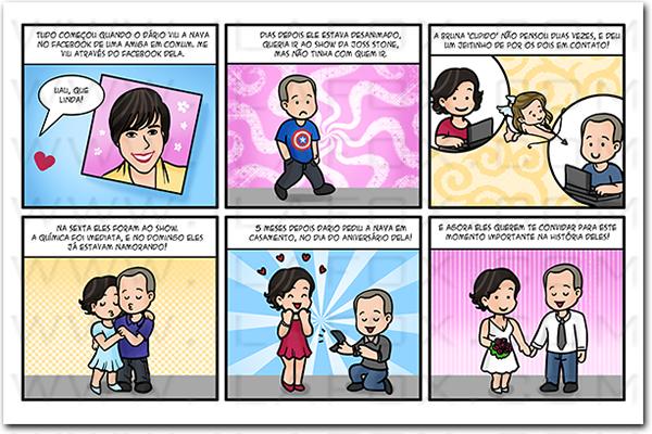 quadrinhos personalizados, quadrinhos casal, quadrinhos pedido noivado, convite em tirinhas, by ila fox